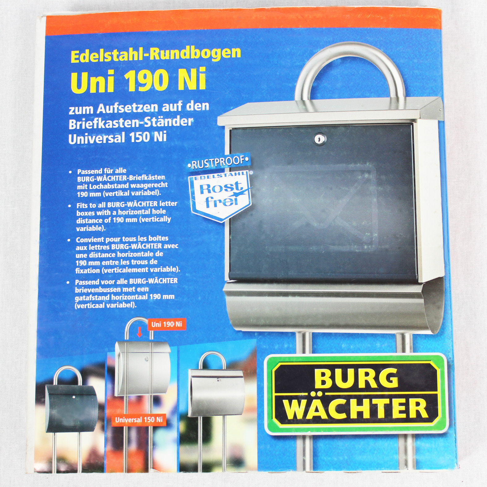 burgw chter edelstahl rundbogen briefkasten st nder universal 190 ni uni aufsatz ebay. Black Bedroom Furniture Sets. Home Design Ideas